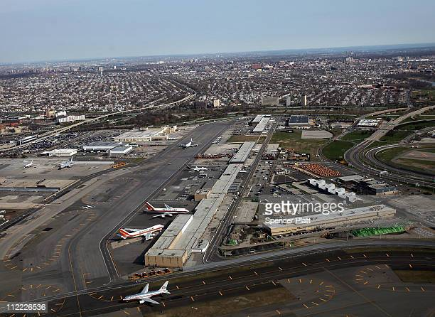 An aerial view of John F Kennedy Airport on April 15 2011 in the Jamaica neighborhood of the Queens borough of New York City