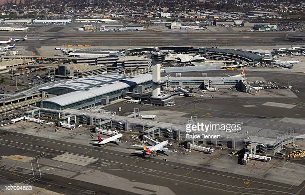 An aerial view of John F. Kennedy International Airport on November 9, 2010 in the Jamaica neighborhood of the Queens borough of New York City.