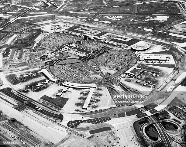 An aerial view of John F Kennedy International Airport Queens New York New York June 11 1964