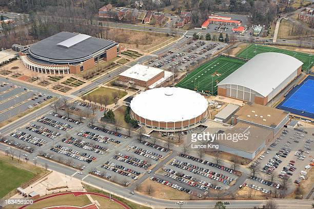 An aerial view of John Paul Jones Arena and University Hall on campus at the University of Virginia on March 1 2013 in Charlottesville Virginia