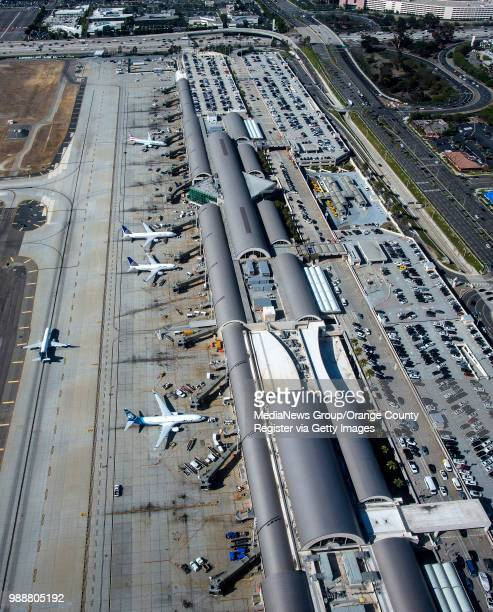 An aerial view of John Wayne Airport looking toward the 405 freeway at top in Santa Ana on Thursday June 28 2018
