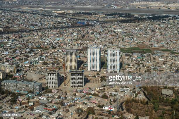 An aerial view of Kabul city from a Ch46 Helicopter on November 11 2018 in Kabul Afghanistan