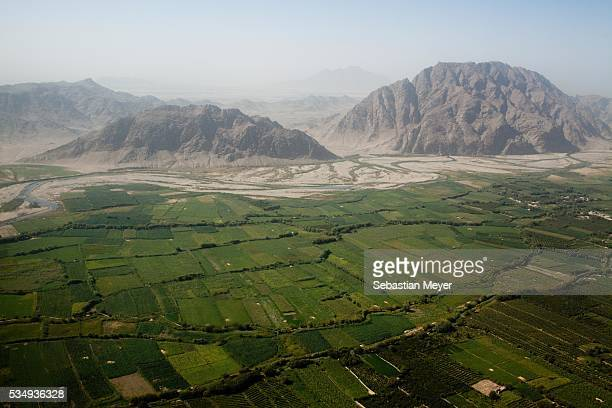 An aerial view of Kandahar Province taken from an US Army Blackhawk The US is effectuating a rolling surge through Kandahar Province the birthplace...