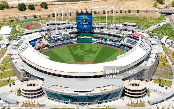 An aerial view of Kauffman Stadium before the 83rd Major League Baseball AllStar game between the American and National Leagues at Kauffman Stadium...