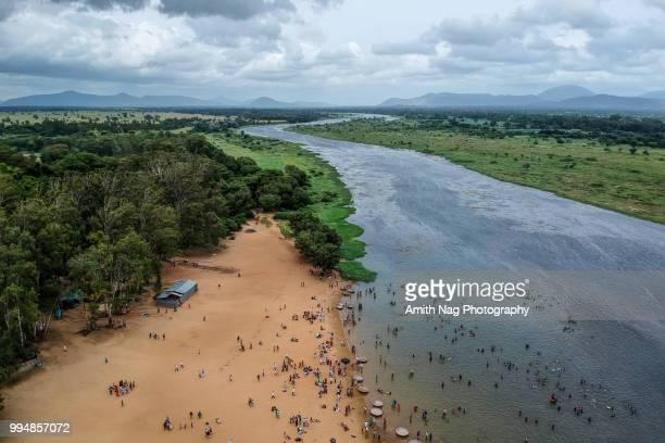 An aerial view of Kaveri river flowing through Talakadu