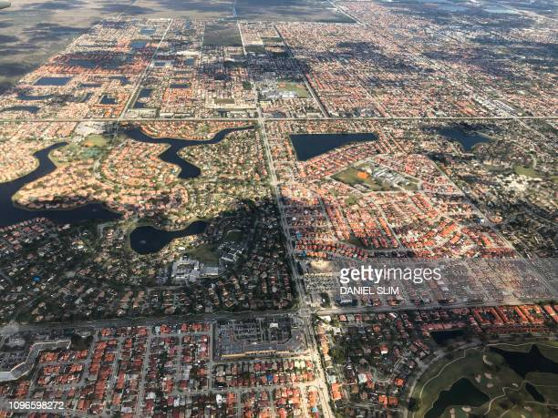 An Aerial view of Kendall South West of Miami Florida pictured on February 7 2019