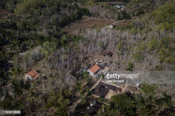 An aerial view of Klepu village Sawahan Kulon during drought season on August 28 2019 in Pacitan East Java province Indonesia During the height of...