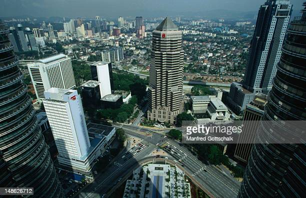 An aerial view of Kuala Lumpur from the skybridge of the Petronas Twin Towers.