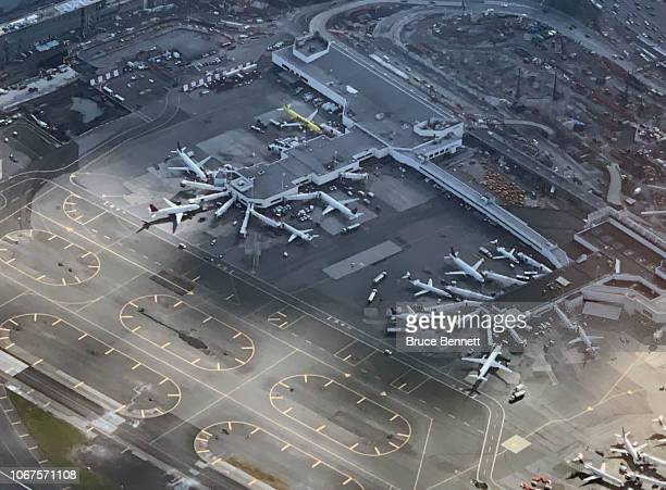 An aerial view of Laguardia Airport as photographed on November 10, 2018 in New York City.