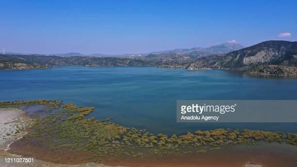 An aerial view of Lake Bafa, the biggest coastal wetland in Aegean Region of Turkey, in Aydin, Turkey on April 25, 2020. Lake Bafa, located between...