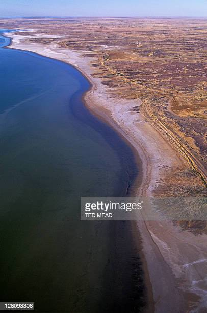 An aerial view of Lake Eyre after flooding rains, Lake Eyre National Park, South Australia, Australia