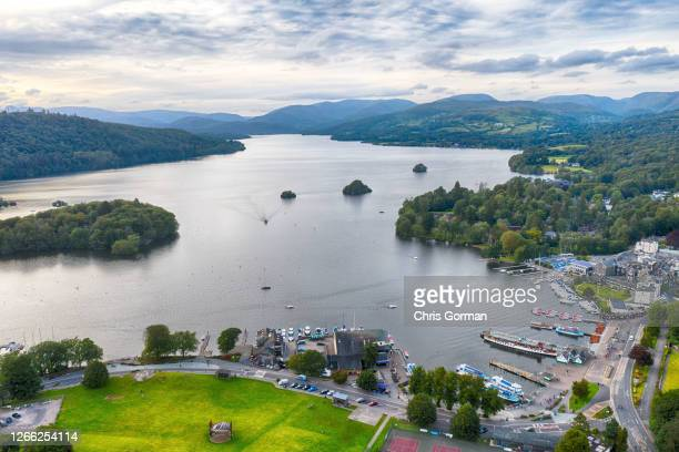 An aerial view of Lake Windermere on July 30, 2020 in Windermere, Cumbria.