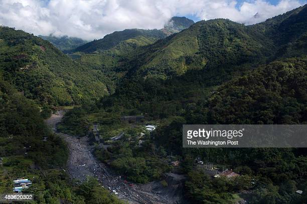 An aerial view of land where Minería Texas Colombia a USA emerald mining company owns the rights to the subsurface in the municipality of Muzo...