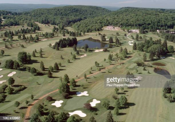 An aerial view of Laurel Valley Golf Club and its Club House in Ligonier, Pennsylvania, circa June 1988. (Photo by Brian Morgan/Popperfoto via Getty...