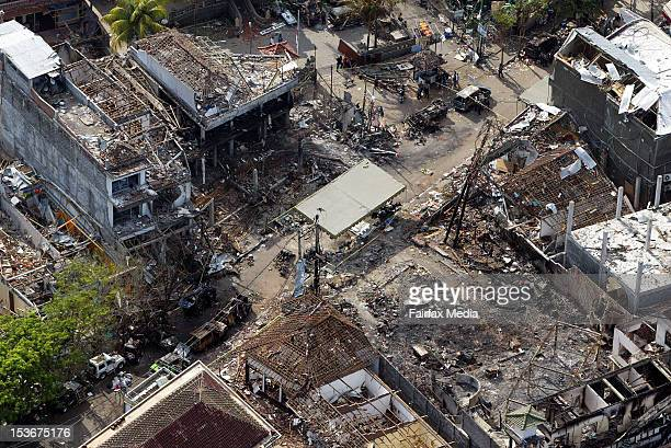 An aerial view of Legian Street in Kuta Bali five days after the Bali bombings that killed 202 people October 17 2002