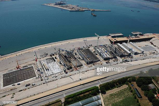 An aerial view of Lido mouth where the Mose system is under construction in Venice on June 9 2010The Mose Project is a project intended to protect...