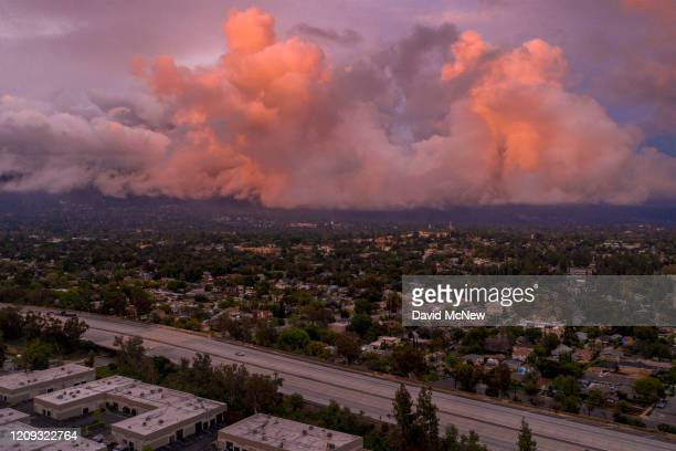 An aerial view of light traffic on Interstate 210 on April 6, 2020 in Pasadena, California. Los Angeles County authorities are warning of a spike in...