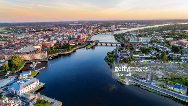 an aerial view of limerick city centre, limerick, ireland. - limerick city stock-fotos und bilder