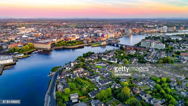 an aerial view of limerick city, ireland - limerick city stock-fotos und bilder