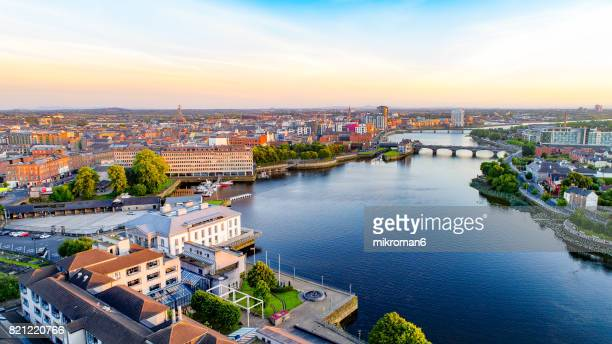 an aerial view of limerick city, ireland - republic of ireland stock pictures, royalty-free photos & images