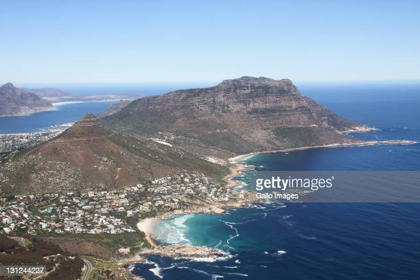 An aerial view of Llandudno on September 16 It forms a prominent landmark overlooking the harbour at Hout Bay An unusual feature is that sand has...
