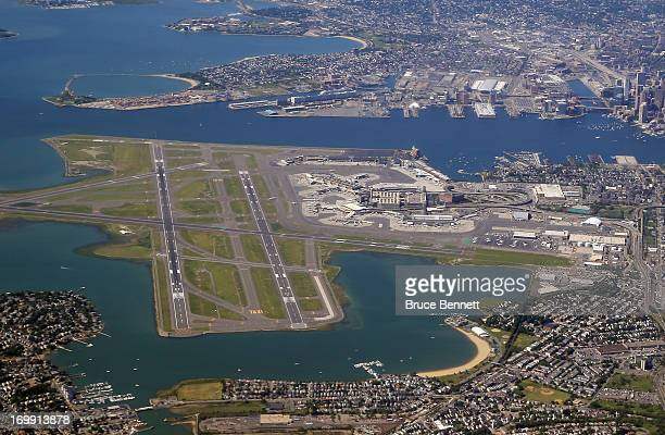 An aerial view of Logan airport and the greater Boston area as photographed on June 4 2013 in Boston Massachussets