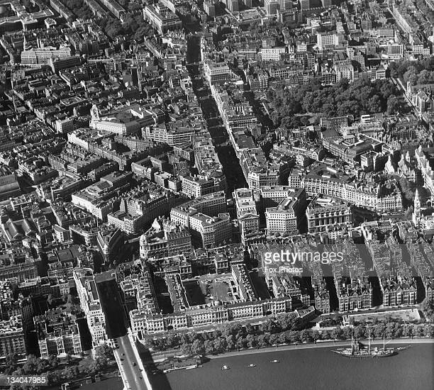 An aerial view of London showing Aldwych Kingsway and Somerset House on the north bank of the Thames September 1953