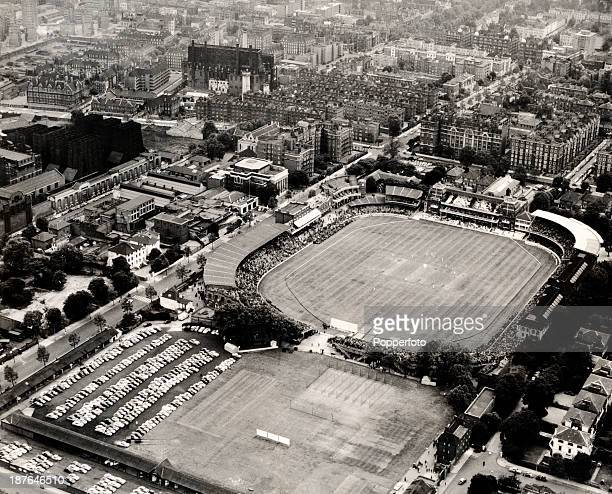 An aerial view of Lord's cricket ground and the Nursery ground in London circa June 1960