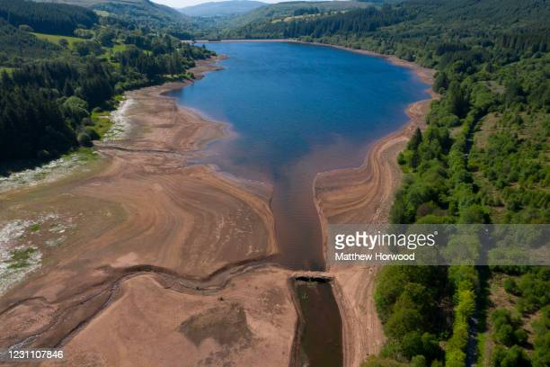 An aerial view of low water levels in the Llwynon reservoir in Taf Fawr valley on May 29 2020 in Merthyr Tydfil United Kingdom The Met Office have...