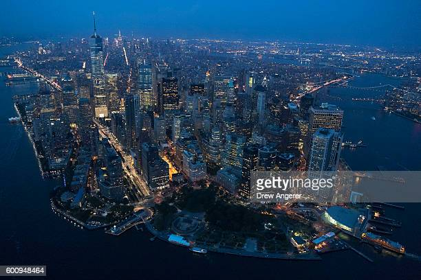An aerial view of Lower Manhattan at dusk September 8 2016 in New York City New York City is preparing to mark the 15th anniversary of the September...