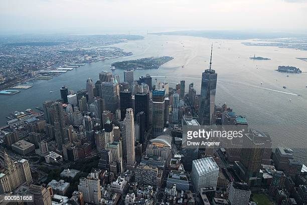 An aerial view of Lower Manhattan looking south September 8 2016 in New York City New York City is preparing to mark the 15th anniversary of the...