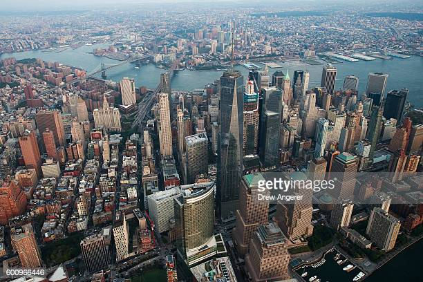 An aerial view of Lower Manhattan September 8 2016 in New York City New York City is preparing to mark the 15th anniversary of the September 11...