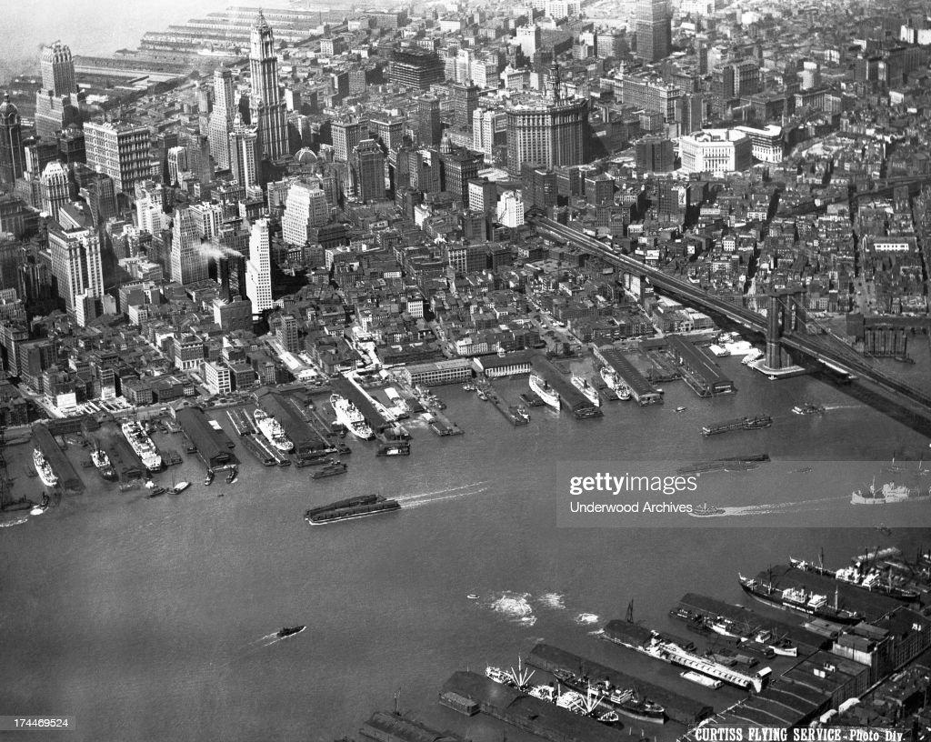 Aerial View Of Lower Manhattan : News Photo