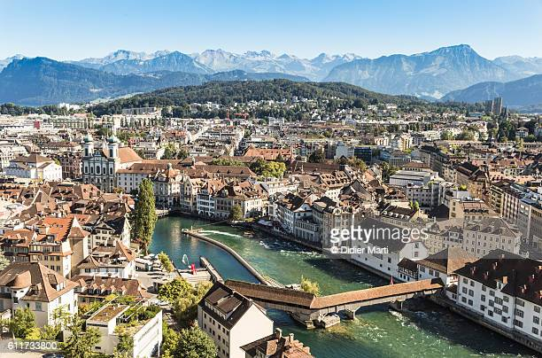 An aerial view of Lucerne old town in Switzerland.
