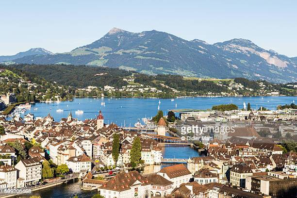 An aerial view of Lucerne old town with the famous wooden bridge
