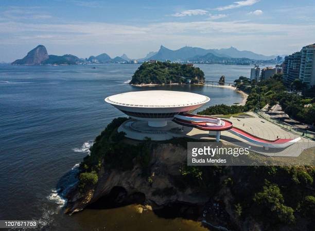 An aerial view of MAC on March 19, 2020 in Niteroi, Brazil. Rio de Janeiro's state government and Niteroi city council officials recommend to avoid...