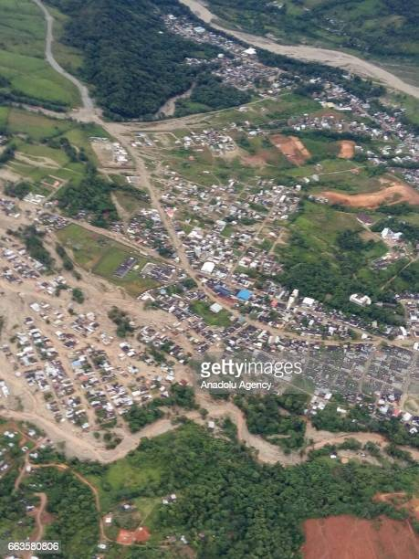 An aerial view of Macoa Putumayo Colombia on April 01 2017 At least 154 people lost their lives after three rivers in southern Colombia burst their...