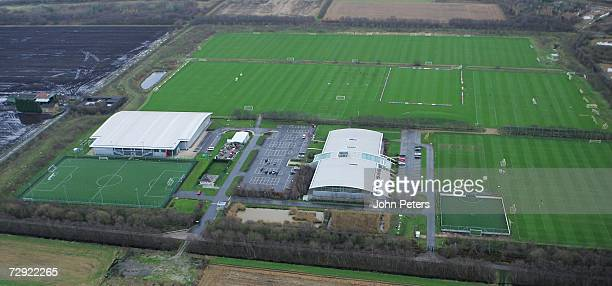 An aerial view of Manchester United's Carrington training ground ahead of the Barclays Premiership match between Manchester United and Reading at Old...