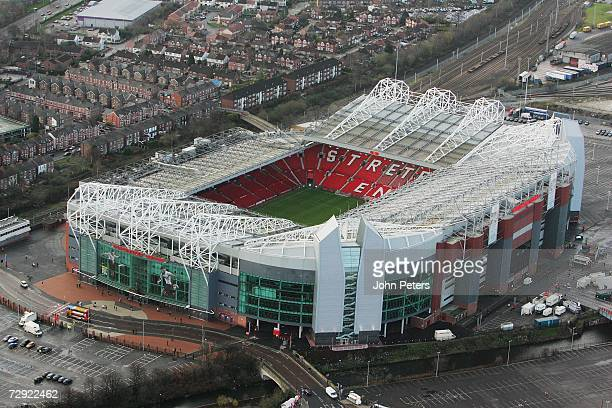 An aerial view of Manchester United's Old Trafford stadium ahead of the Barclays Premiership match between Manchester United and Reading at Old...