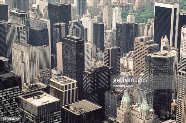 An aerial view of Manhattan New York City USA June 1984