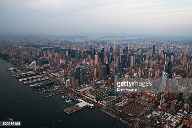An aerial view of Manhattan September 8 2016 in New York City New York City is preparing to mark the 15th anniversary of the September 11 terrorist...