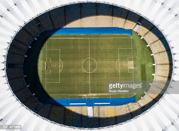 An aerial view of Maracana Stadium on March 19 2020 in Rio de Janeiro Brazil Rio de Janeiro's state government and city council official recommend to...