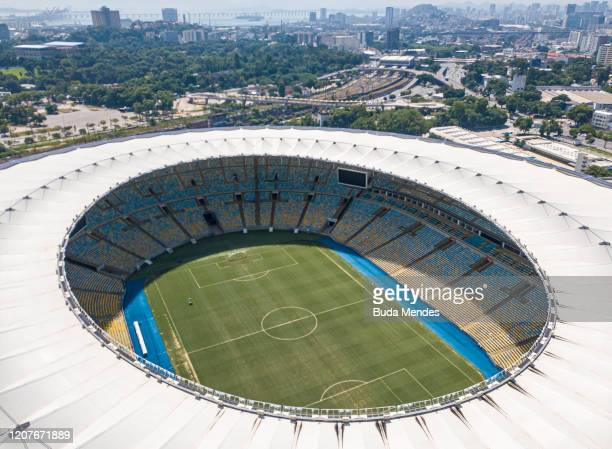 An aerial view of Maracana Stadium on March 19, 2020 in Rio de Janeiro, Brazil. Rio de Janeiros state government and city council official recommend...