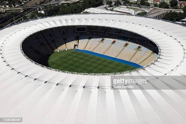 An aerial view of Maracana Stadium on March 26 2020 in Rio de Janeiro Brazil Rio de Janeiro state government and city council official announced that...