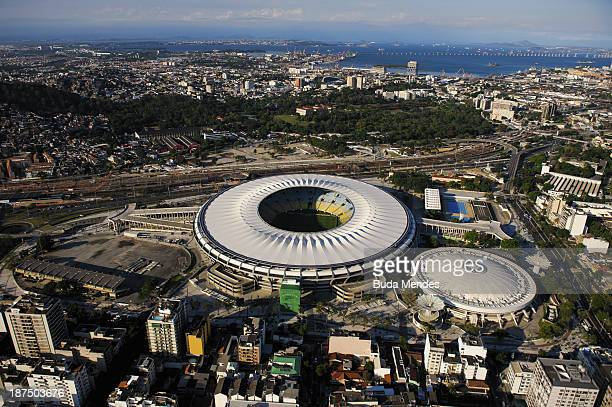 An aerial view of Maracana stadium on the 1000th day before the Rio 2016 Olympic Games on November 9 2013 in Rio de Janeiro Brazil Brazil is also...
