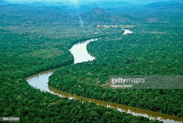 An aerial view of Mavaca river section near a Yanomami community Mavaca River is one of the many affluent of the Orinoco River in the region In spite...