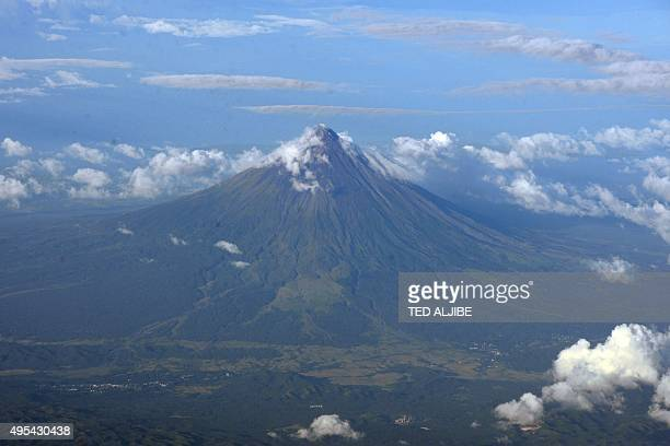 An aerial view of Mayon volcano in Legazpi City Albay province south of Manila on November 2 2015 AFP PHOTO / TED ALJIBE