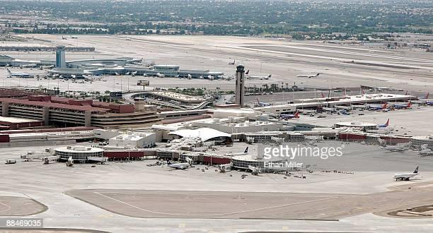 An aerial view of McCarran International Airport June 12 2009 in Las Vegas Nevada