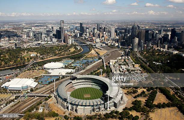 An aerial view of Melbourne CBD and Melbourne Park which consists of the Melbourne Cricket Ground Rod Laver Arena and Hisense Arena is seen on...