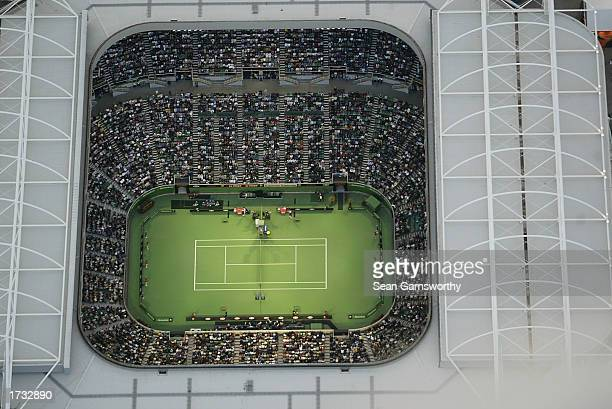 An aerial view of Melbourne Park at sunset during the Australian Open Tennis Championships at Melbourne Park Melbourne Australia on January 18 2003